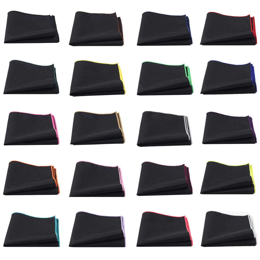 Men Linen Cotton Plain Black Pocket Square Colorful Edge Handkerchief Prom Hanky