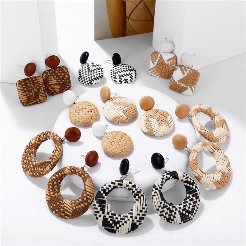 Handmade Bohemian Wooden Rattan Wicker Straw Drop Earrings for Women Vintage Bamboo Statement