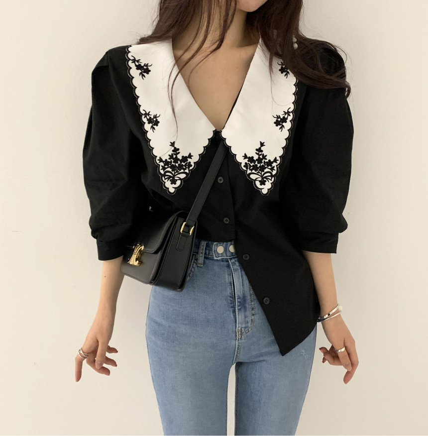 Temperament Of Restoring Ancient Ways Design Feeling Female Coat Lapels Delicate Embroidery Shirts