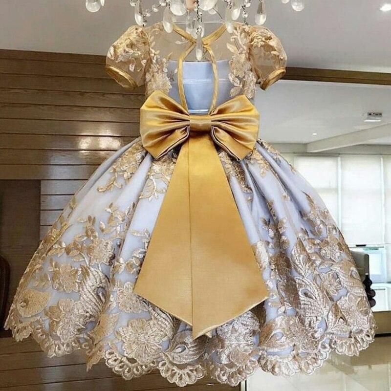 Детское платье с бантом и кружевом, для девочек