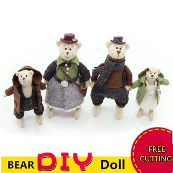 2 sztuk zestaw DIY Craft uroczy miś rodzina czuł zwierzęta Handmade krawiectwo niedokończone zabawki na boże narodzenie wisiorek na prezent brelok tanie i dobre opinie CN (pochodzenie) Felt Cloth XQ013 Zwierząt DIY Doll package
