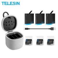 Paquete de 3 baterías TELESIN y cargador de batería de 3 ranuras con lector de tarjetas TF caja de almacenamiento de carga para Gopro Hero 8 7 Black Hero 6 Hero 5
