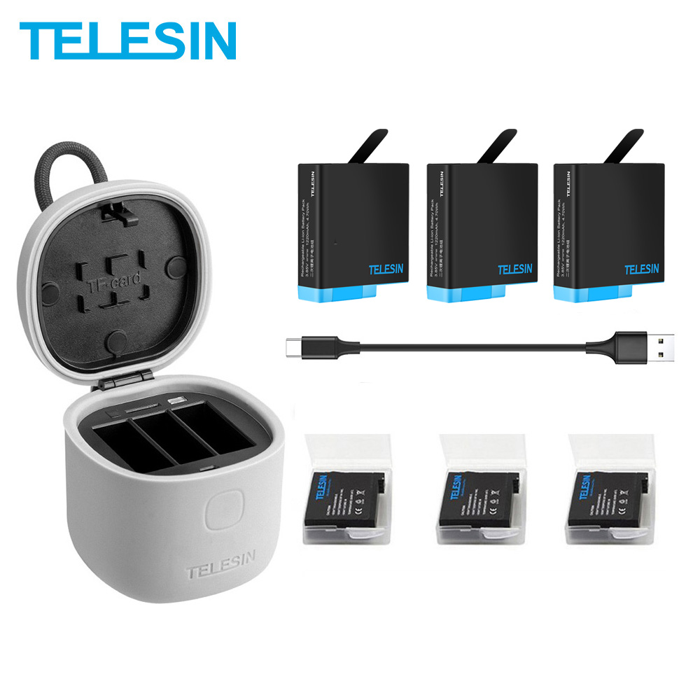 TELESIN 3 Pack Battery & 3 Slots Battery Charger With TF Card Reader Charging Storage Box For Gopro Hero 8 7 Black Hero 6 Hero 5