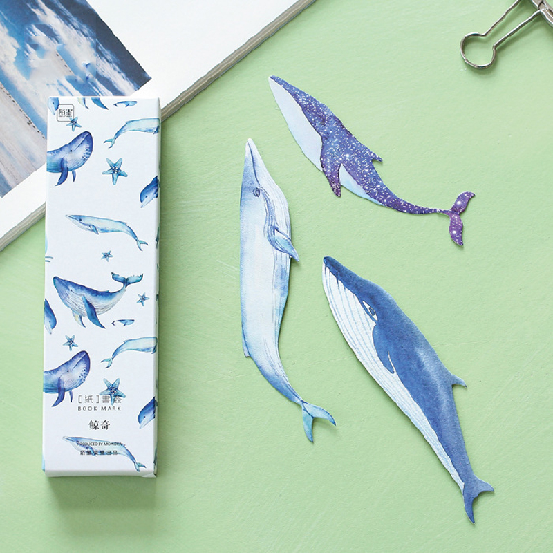 30 Pcs/pack Cute Whale Fish Paper Bookmark Kwaki Stationery Bookmarks Book Holder Message Card School Supplies Papelaria