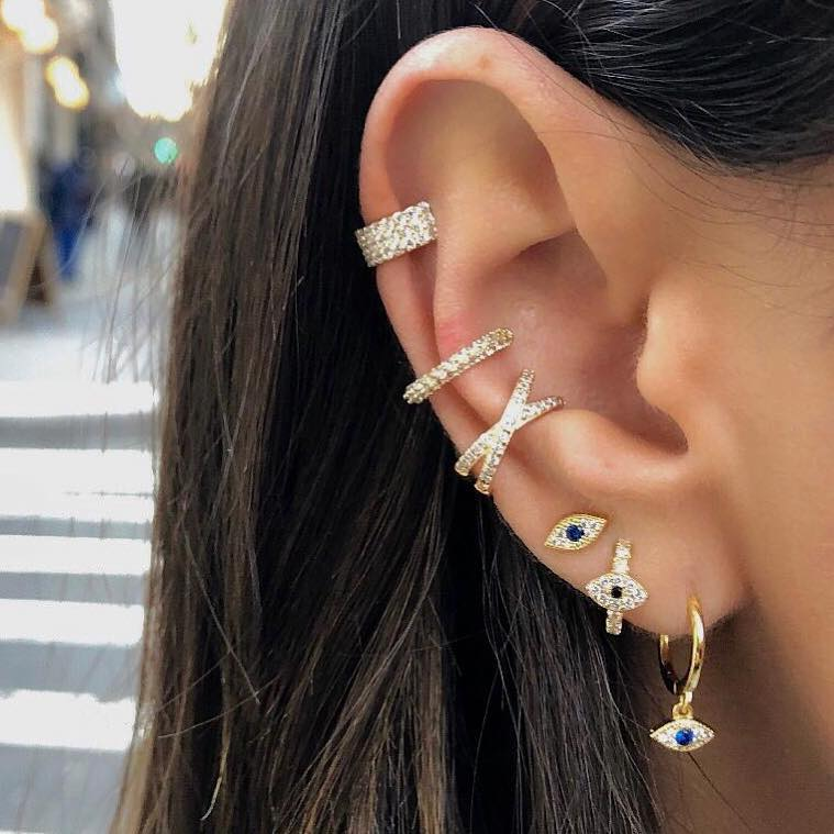 MINImalist evil eye charm earring stud 100% 925 real silver paved blue cz mini bead earring delicat dainty jewelry(China)