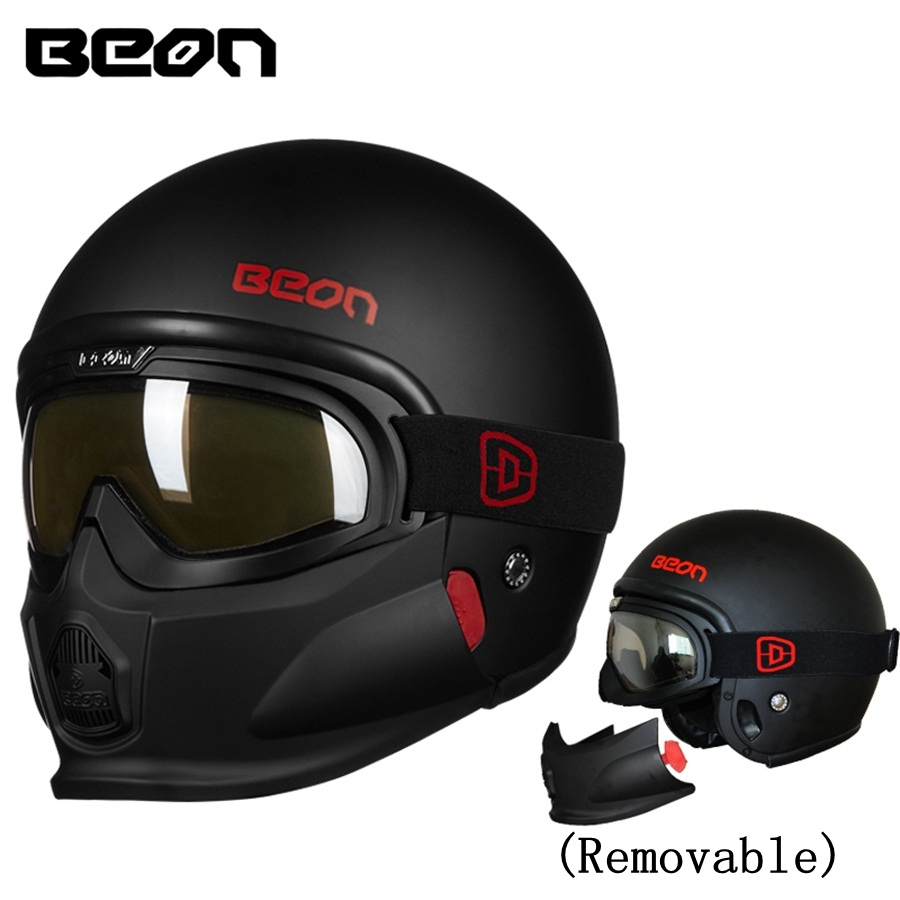Free shipping 1pcs New Moto Half Google Helmet Cruiser 3/4 Open Face Scooter Vintage Modular DOT Full Face Motorcycle Helmets