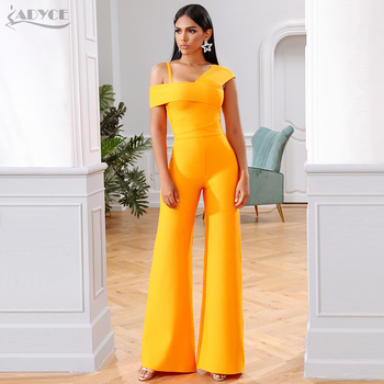 Adyce 2020 New Summer Orange Two Pieces Sets Sexy Spaghetti Strap Short Sleeve Top& Long Pants Women Fashion Club Party Sets wuhe women fashion o neck short sleeve long swing top and slim pants summer casual two pieces sets playsuits combinaison femme