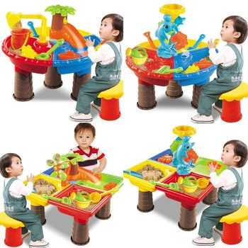 1 Set Kids Sand and Water Play Table Garden Sandpit Outdoor Seaside Beach Toy