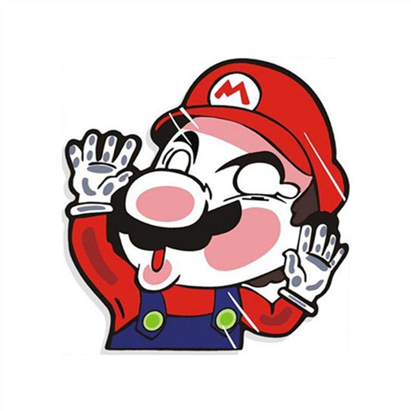 Супер забавный Марио коллид стекло плакат с героями аниме искусственная кожа для автостайлинга наклейки 3d стены искусства наклейки двери окна украшения клей росписи