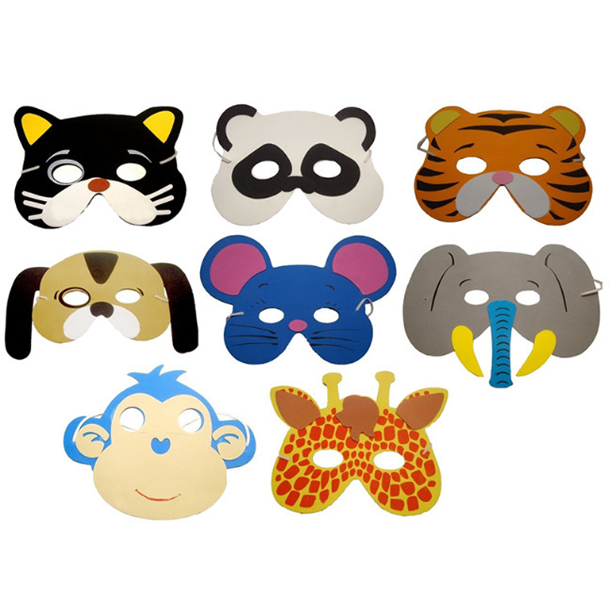12pcs EVA Foam Animal Masks Mask Birthday Party Supplies Cartoon Kids Party Dress Up Costume Zoo Jungle Mask Party Decoration
