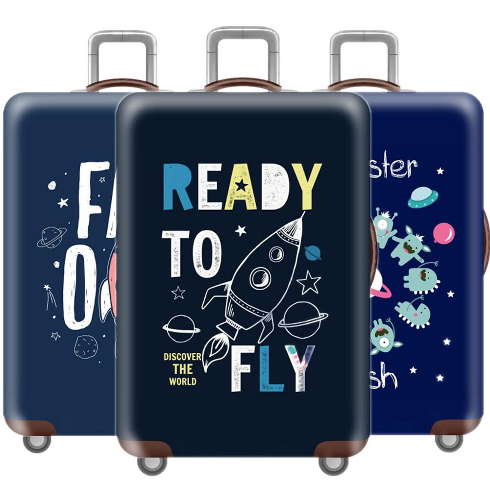 Creative Thicken 3D Luggage Cover Protective Case Waterproof Elastic Blue Suitcase Cover For 18-32 Inch XL Travel Accessorie