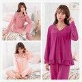 Женский пижамный комплект из 2 предметов, 3 цвета, домашняя одежда, пижама, женский осенний комплект с v-образным вырезом, одежда для сна, спор...