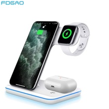 FDGAO 3 in 1 Wireless Charger Stand 15W Fast Charging for iPhone 11 X XS XR 8 For Apple Watch 5 4 3 2 1 Airpods Pro Dock Station