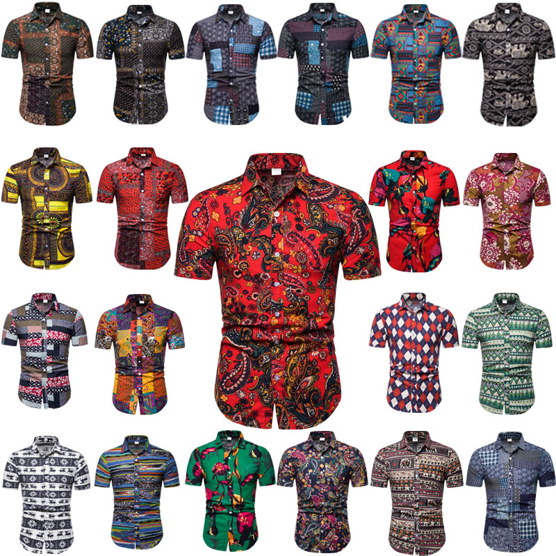 Aoliwen brand Summer Short Sleeve Shirts Fashion Men Casual Shirts Slim Fit Shirts Plus Size M-5XL Hawaiian for Beach Holiday