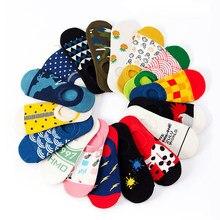5 pares de algodão engraçado feliz invisível verão barco não mostrar meias não-deslizamento das mulheres dos homens curto baixo corte meias chinelos de silicone