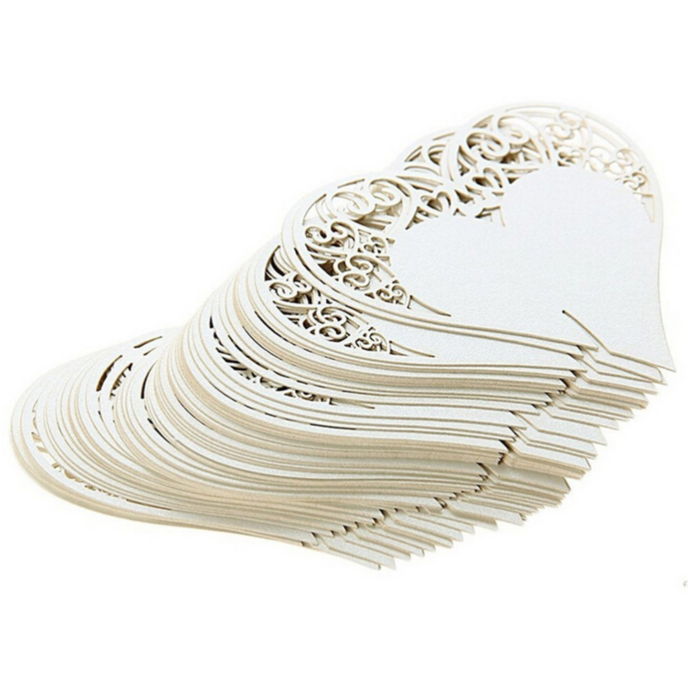 50pcs / Multi Wedding Table Decoration Positioning Card Laser Cut Heart-shaped Flower Wine Glass Place Love Seat Hollow Card Wed