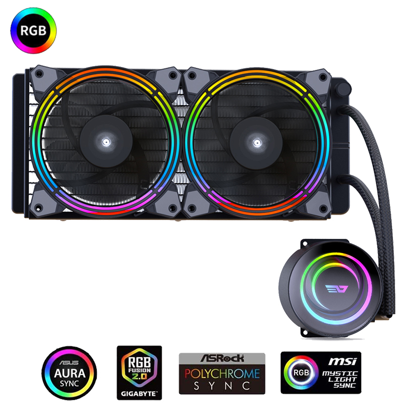 Aigo darkFlash PC Case Water Liquid Cooling AIO Cooler Radiator with 240mm LED Rainbow Fan CPU Cooler For LGA 115x/2011/AM3+/AM4 Fans & Cooling  - AliExpress