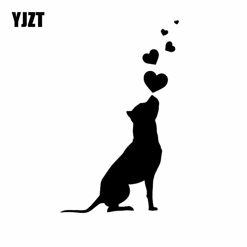 YJZT 9.8X16CM Vinyl Decal Dog Hearts Pet American Staffordshire Terrier Car Stickers Black/Silver C24-1261