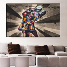 Retro Graffiti Street Art Abstract Victory Kiss Picture Canvas Painting Posters and Prints Wall Pictures for Living Room Decor
