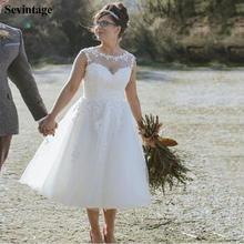 Sevintage Новое Кружевное короткое свадебное платье без рукавов
