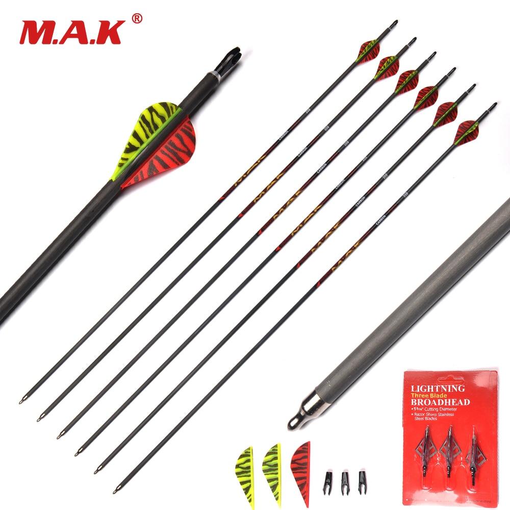 "12x 31/"" Archery Fiberglass Arrows Shaft 3 Blades Broadheads Hunting Compound Bow"