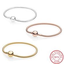 100% 925 Sterling Silver Forever Love Snake bone Bracelet For Women Fit Original Brand DIY Beads Charm bracelets Jewelry ZY15 недорого