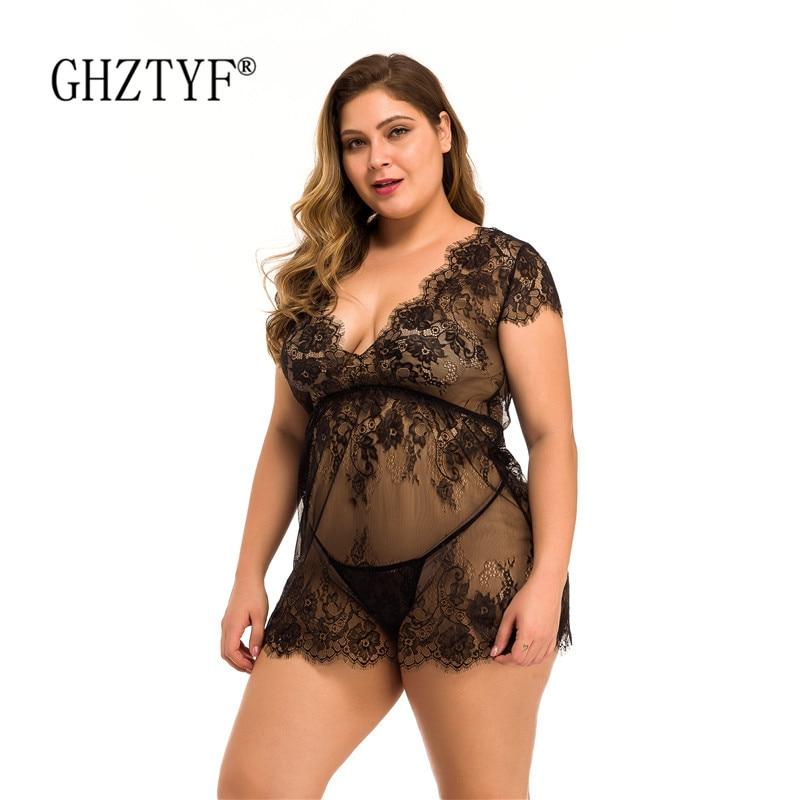 Plus Size Women Sexy Lingerie Hot Erotic Porn Baby Doll Nightwear Black Sex Underwear Cosplay Sleepwear Nightdress Costume