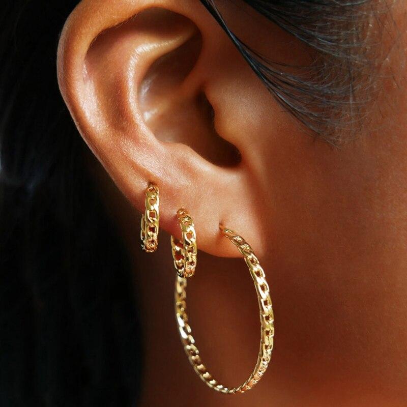 Peri'sBox 2 Size Gold Silver Color Thick Chain Hoop Earrings Circle Big Hoop Earrings For Women Curb Link Minimalist Earrings