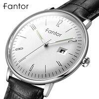 Fantor Top marka luksusowy zegarek mężczyźni 2020 skórzany pasek wodoodporny zegarek kwarcowy męska Casual Business Man zegar z pudełkiem