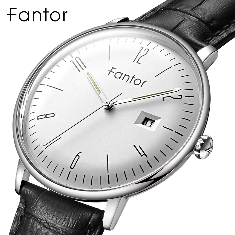 Fantor Top Brand Luxury Watch Men 2020 Leather Strap Waterproof Quartz Wristwatch Men's Casual Business Man Clock With Box