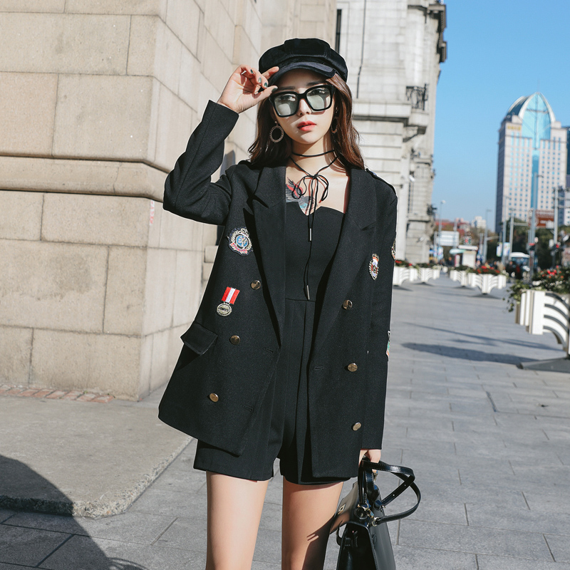 Stylish Loose Ladies Blazer Black Casual Suit Jacket Long Sleeve Simple Bayan Mont Korean High Street Women Blazer New MM60NXZ