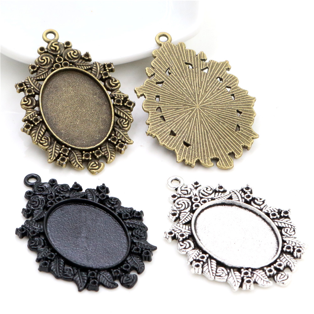 5pcs 18x25mm Inner Size Antique Bronze Silver Plated And Black Cameo Cabochon Base Setting Charms Pendant Necklace Findings
