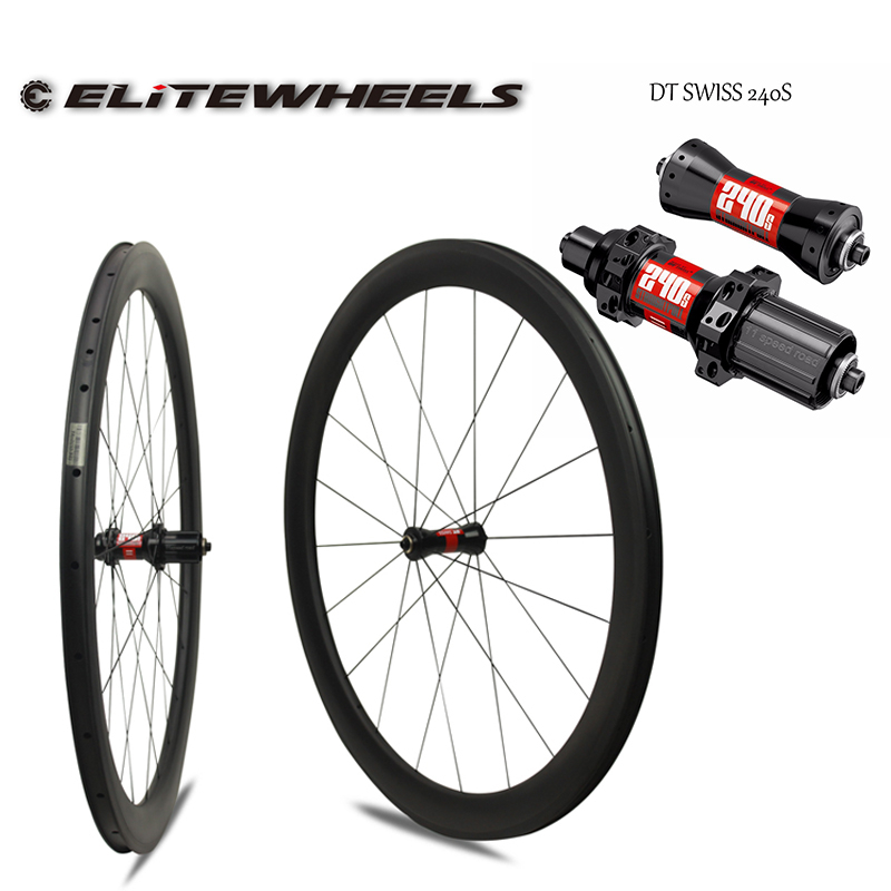 Elitewheels DT SWISS 240s Hub Clincher Carbon Road Bike Wheels 25mm Width 50mm Depth Clincher <font><b>Rim</b></font> With Pillar 1423 Spoke image