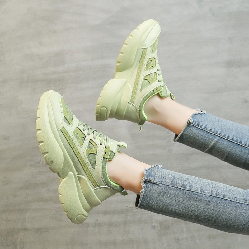 2020 Women Chunky Sneakers Platform Woman Designers Fashion Casual Shoes Yellow Green Brand Female Lace Up Vulcanized Shoes 5cm