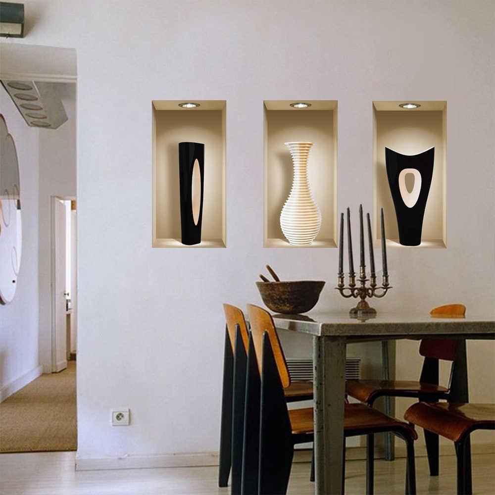 Набор из 3 волшебных 3D Ваза фрески Съемная Настенная картина наклеивающиеся Переводные картинки для детей гостиная спальня диван DIY домашний декор