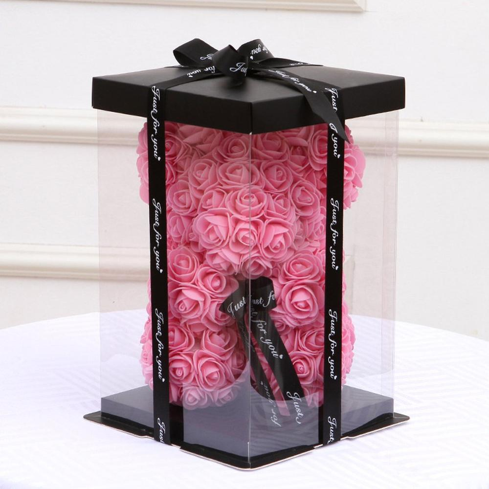 17x17x28cm Transparent Colorful Base Gift Box For Artificial Teddy Bear Rose Clear PET Square Bosca Císte For Cake