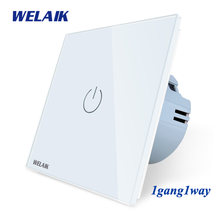 Welaik nuevo panel de cristal interruptor de pared UE Interruptor táctil pantalla pared interruptor 1gang1way LED lámpara A1911CW /b(China)