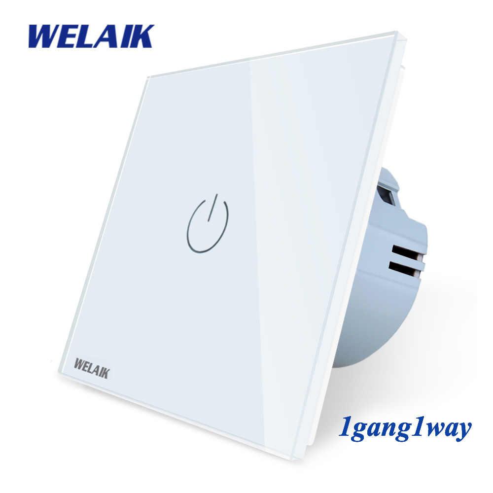 WELAIKผลิต-EU 1gang1way Wall-Touch-สวิทช์คริสตัลแก้วแผง-สวิทช์-อัจฉริยะ-สวิทช์ไฟ-สมาร์ทสวิทช์A1911CW
