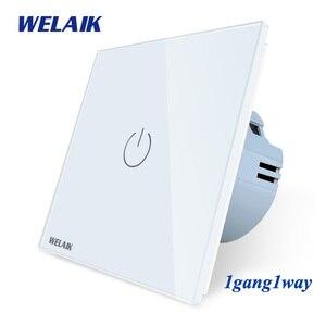 WELAIK Manufacture-EU 1gang1way Wall-Touch-Switch Crystal-Glass Panel-Switch Wall-Intelligent-Switch Light-Smart-Switch A1911CW(China)