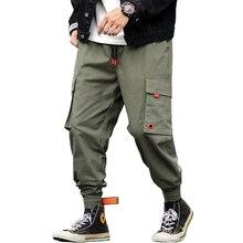 New Casual Multi-Pockets Elastic Waist Stylish Mens Joggers Trousers Fashion Autumn Solid Harem Cargo Pants Streetwear
