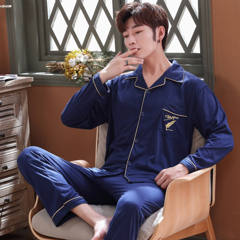 Pajamas Men Cotton Long Sleeve Spring And Autumn Large Size Autumn And Winter Thin Greenish Blue Middle-aged Tracksuit Men's A30