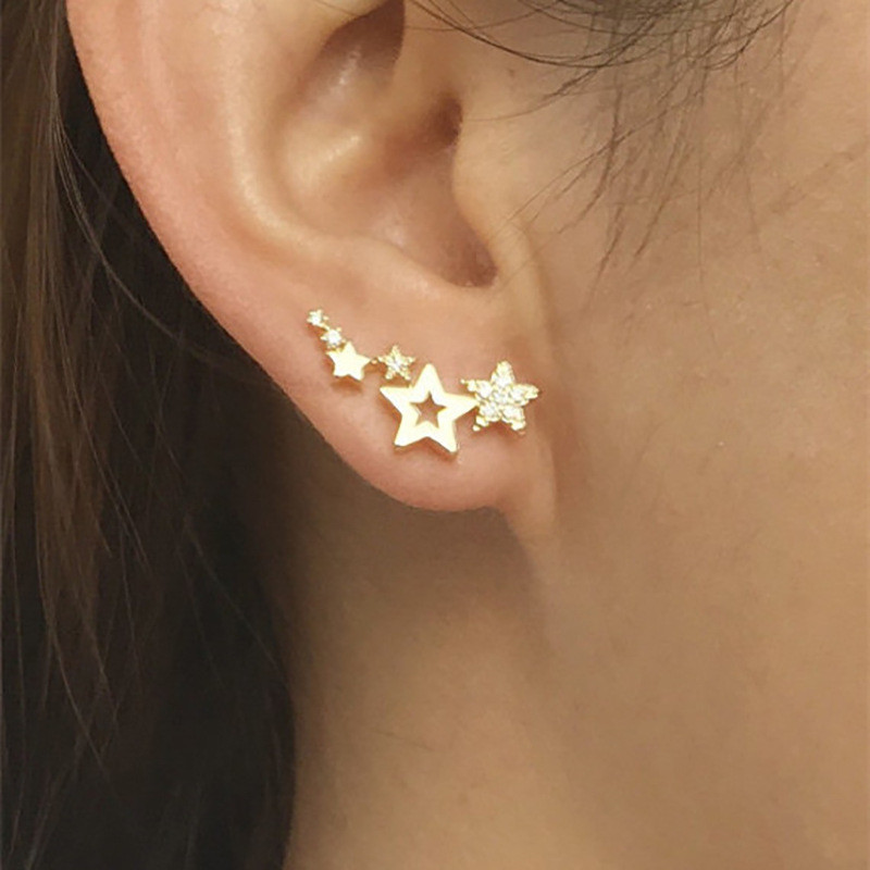 Modyle Hot Selling Simple Stylish Star Women Drop Earrings Shiny White Zircon Exquisite Versatile Female Earring Fashion Jewelry