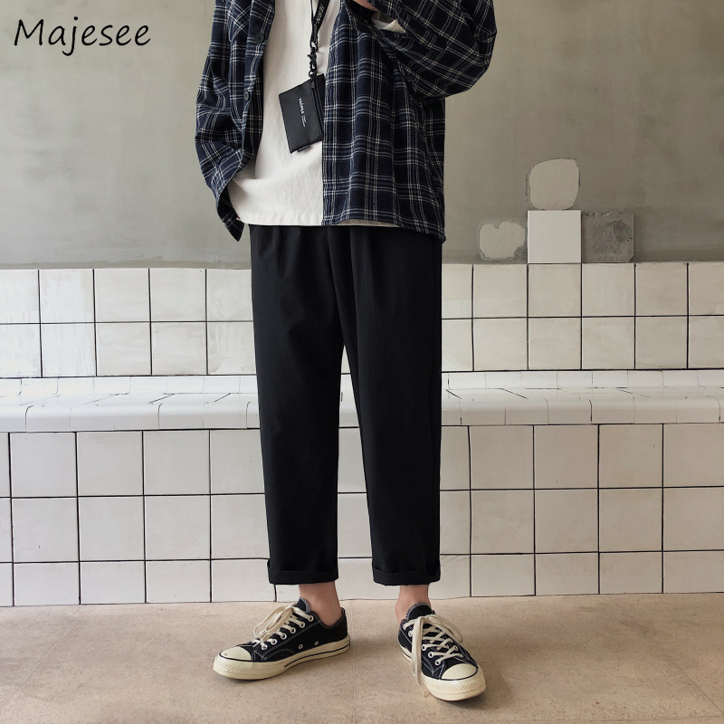 Pants Men Big Size 5XL All Match Straight Loose Sweatpants Ankle-length Mens Trendy Korean Style High Fashion Streetwear Chic