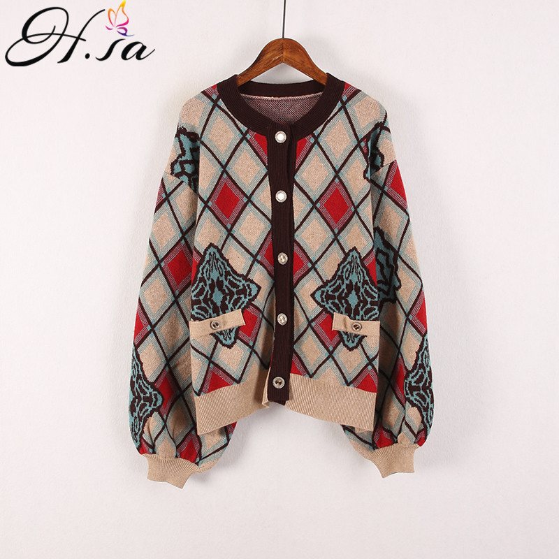 H.SA Women Spring Knit Coat V Neck Button UP Geomertric Casual Sweater And Cardigans Thick Warm Vintage Knitwear Women Clothes