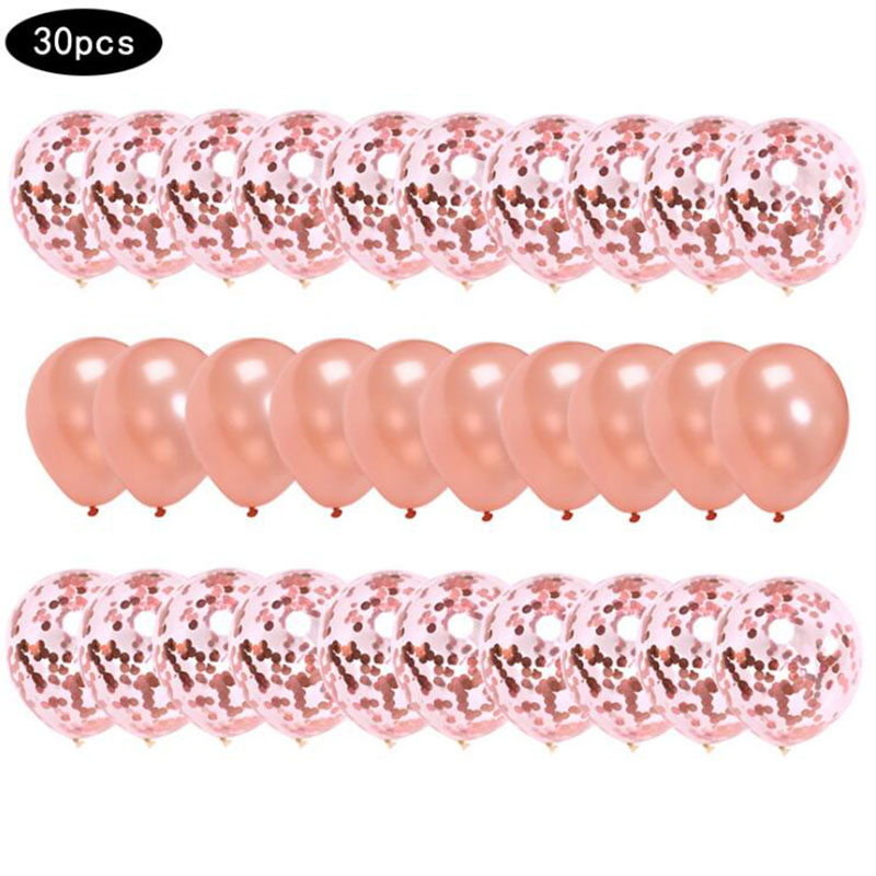 AVEBIEN 12inch Rose Gold Confetti Balloons Wedding Decor Balloon Birthday Party Decoration Kids Event Supplies 30pcs/lot