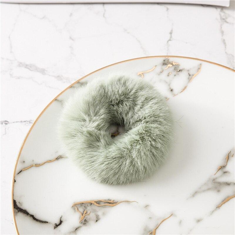 Милые эластичные резинки для волос для девочек, искусственный мех, резиновое эластичное кольцо, веревка, пушистый галстук, аксессуары для волос, меховые резинки, повязка на голову - Цвет: C4