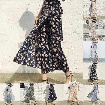 24 colors Summer Holiday Hot Women Floral print Chiffon A-Line Long Skirts Maxi Beach Casual Boho Skirt dropshipping wholesale summer vintage floral print side slit wrap maxi skirt women irregular long boho skirts rk