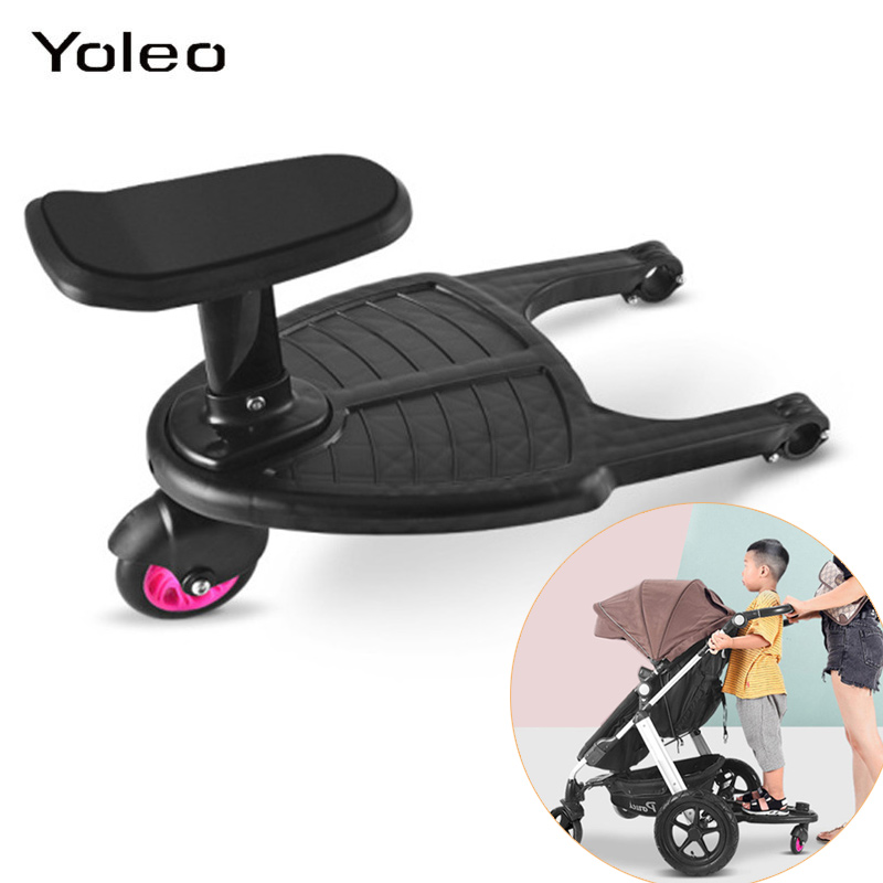 Baby Stroller Pedal Adapter Second Child Auxiliary Trailer Twins Scooter Hitchhiker Kids Standing Plate with Seat accessories