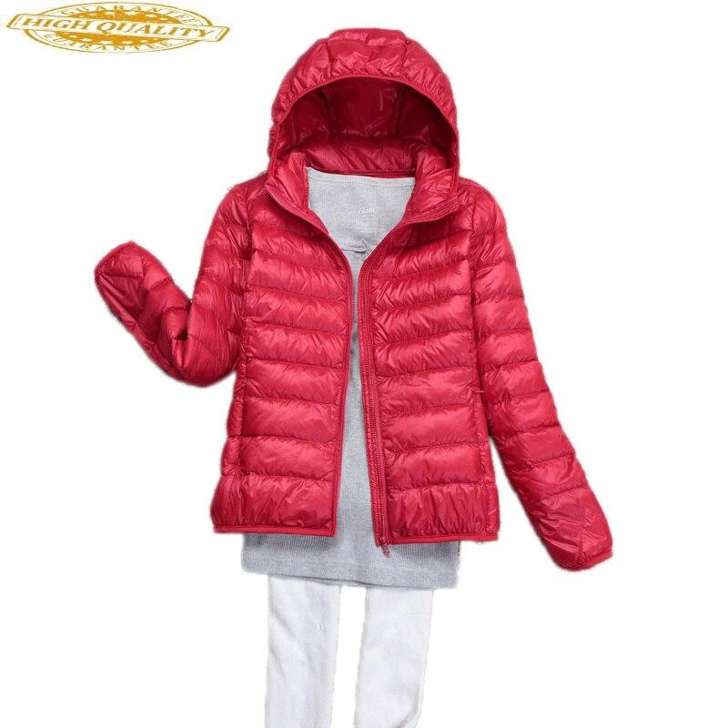 Ultra Light Down Jacket Woman Hooded Korean Plus Size Coat Female Thin Autumn Jackets For Women Chaqueta Mujer KJ412