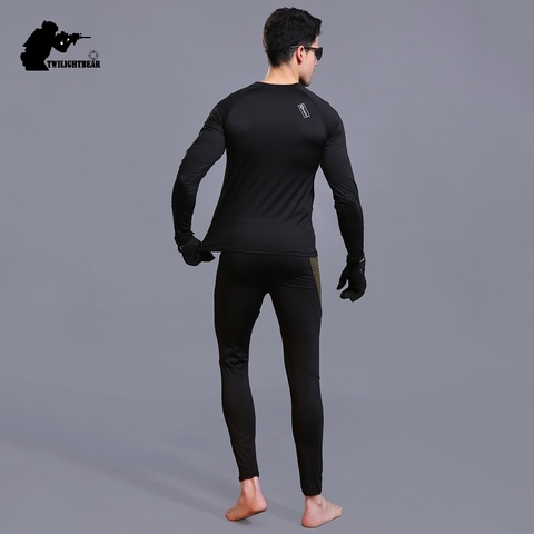 Winter Mens Thermal Underwear Suit Fleece Warm Breathable Sport Underwear Suits Men Army High Elastic Quick Drying Set AF152 Multan